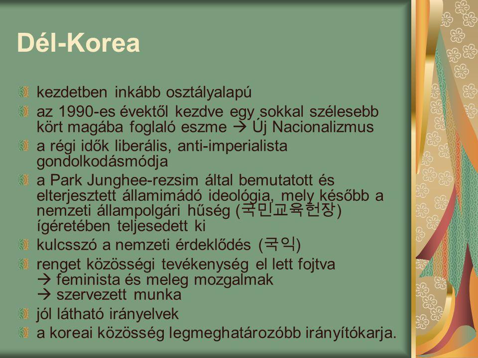 Dél-Korea kezdetben inkább osztályalapú az 1990-es évektől kezdve egy sokkal szélesebb kört magába foglaló eszme  Új Nacionalizmus a régi idők liberális, anti-imperialista gondolkodásmódja a Park Junghee-rezsim által bemutatott és elterjesztett államimádó ideológia, mely később a nemzeti állampolgári hűség ( 국민교육헌장 ) ígéretében teljesedett ki kulcsszó a nemzeti érdeklődés ( 국익 ) renget közösségi tevékenység el lett fojtva  feminista és meleg mozgalmak  szervezett munka jól látható irányelvek a koreai közösség legmeghatározóbb irányítókarja.
