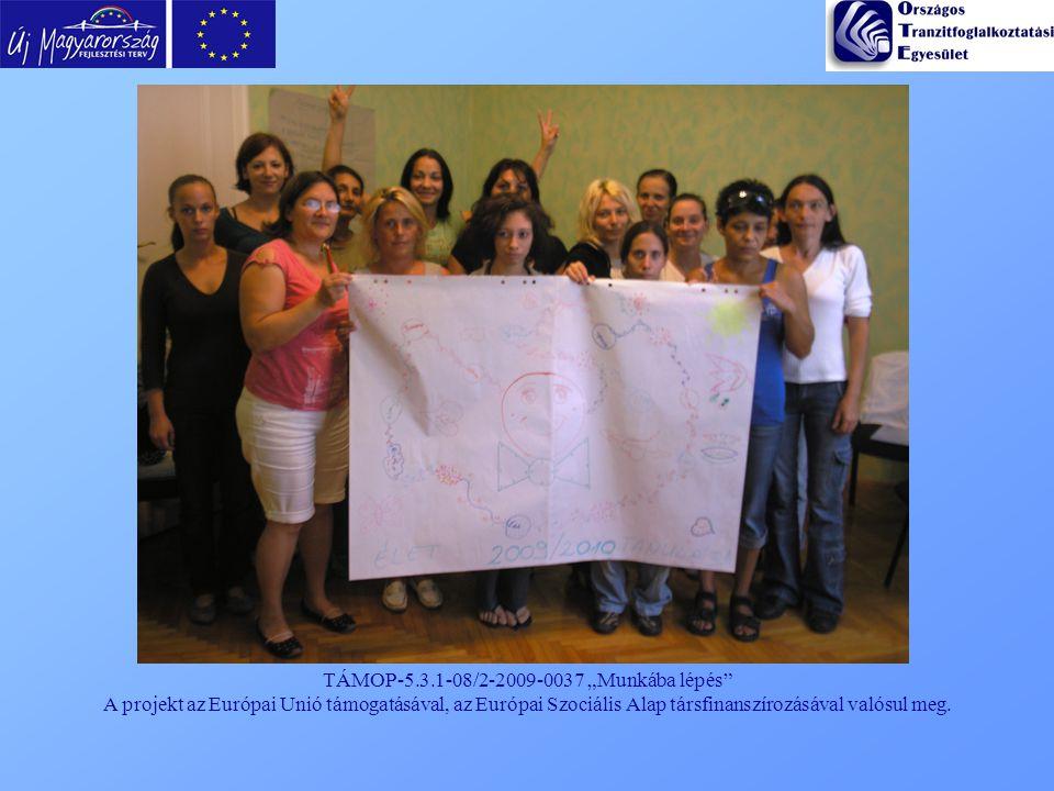 """TÁMOP-5.3.1-08/2-2009-0037 """"Munkába lépés"""" A projekt az Európai Unió támogatásával, az Európai Szociális Alap társfinanszírozásával valósul meg."""