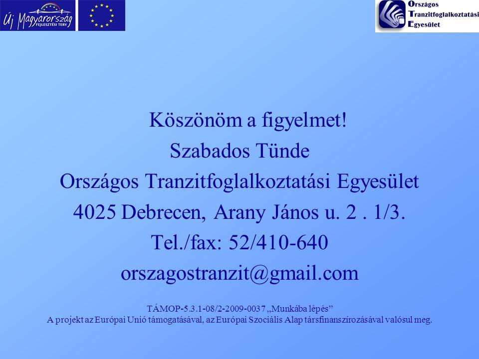 """TÁMOP-5.3.1-08/2-2009-0037 """"Munkába lépés"""" A projekt az Európai Unió támogatásával, az Európai Szociális Alap társfinanszírozásával valósul meg. Köszö"""