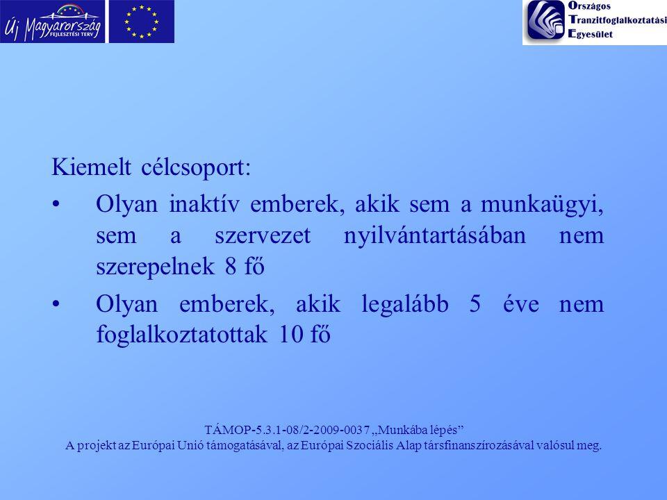 """TÁMOP-5.3.1-08/2-2009-0037 """"Munkába lépés"""" A projekt az Európai Unió támogatásával, az Európai Szociális Alap társfinanszírozásával valósul meg. Kieme"""