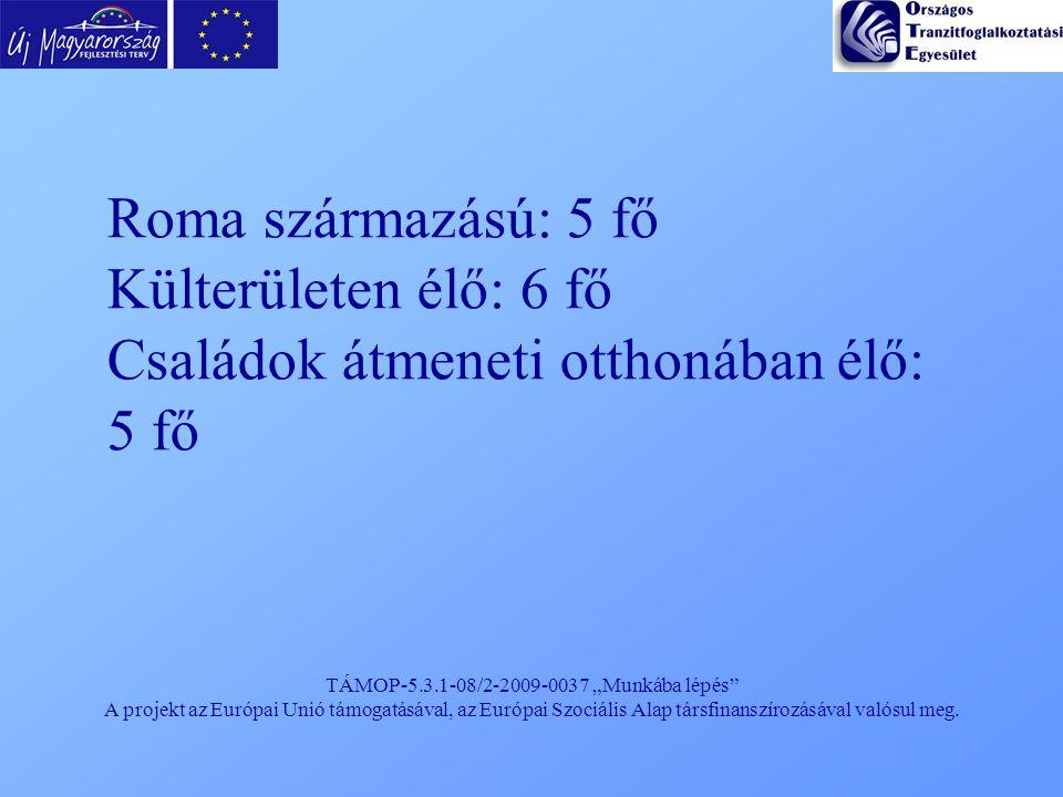 """TÁMOP-5.3.1-08/2-2009-0037 """"Munkába lépés"""" A projekt az Európai Unió támogatásával, az Európai Szociális Alap társfinanszírozásával valósul meg. Roma"""