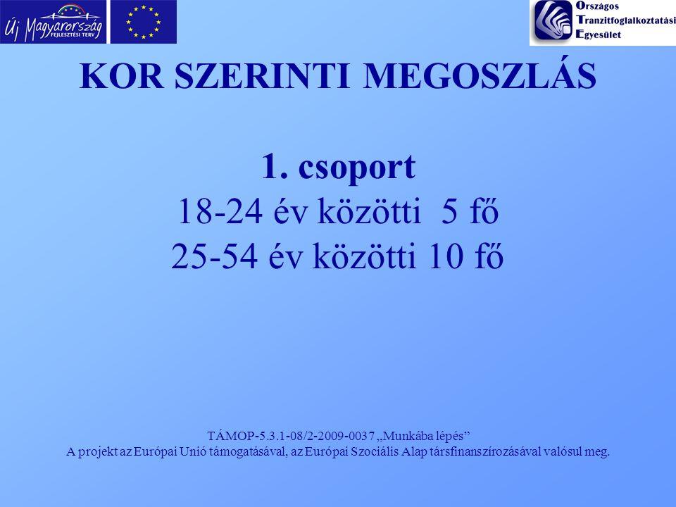 """TÁMOP-5.3.1-08/2-2009-0037 """"Munkába lépés"""" A projekt az Európai Unió támogatásával, az Európai Szociális Alap társfinanszírozásával valósul meg. KOR S"""