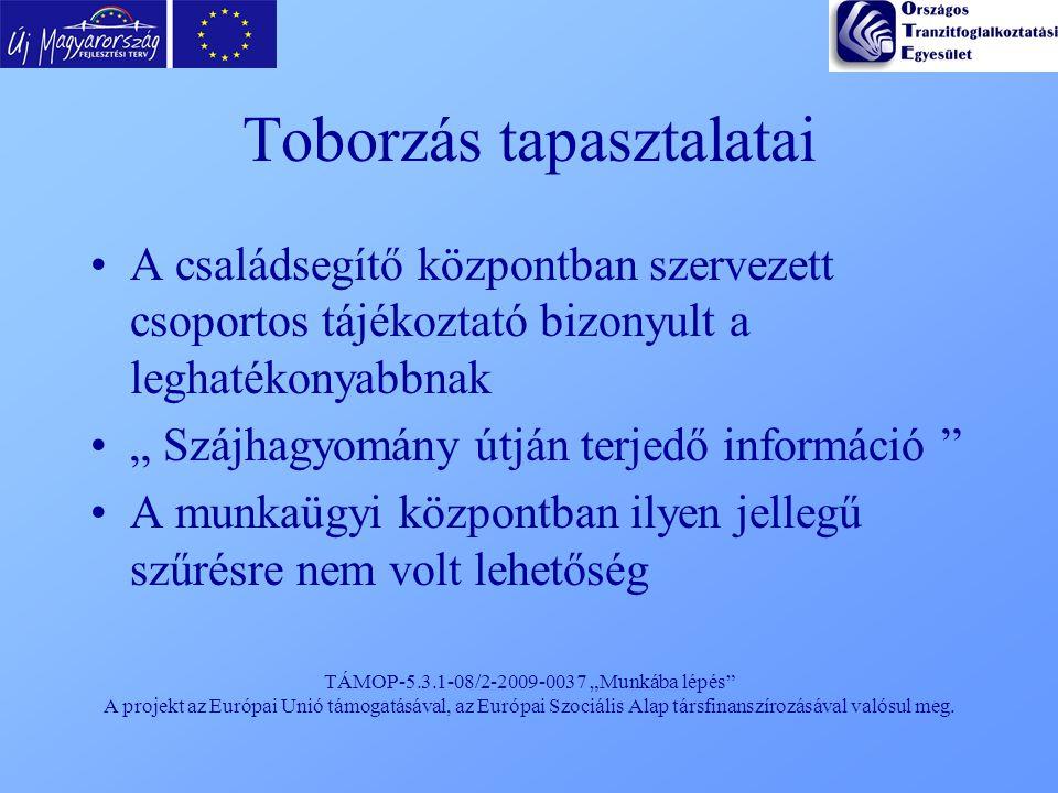 """TÁMOP-5.3.1-08/2-2009-0037 """"Munkába lépés"""" A projekt az Európai Unió támogatásával, az Európai Szociális Alap társfinanszírozásával valósul meg. Tobor"""