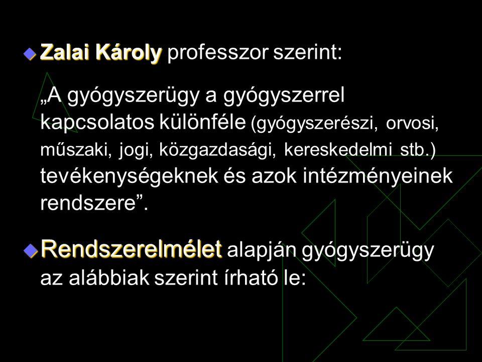 """ Zalai Károly  Zalai Károly professzor szerint: """"A gyógyszerügy a gyógyszerrel kapcsolatos különféle (gyógyszerészi, orvosi, műszaki, jogi, közgazda"""