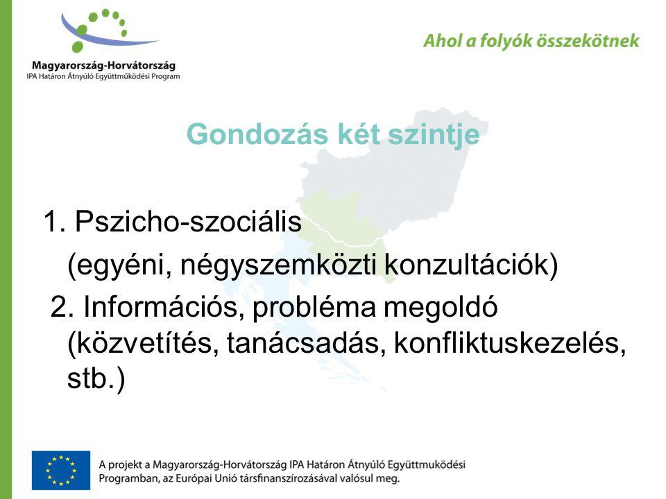 Gondozás két szintje 1. Pszicho-szociális (egyéni, négyszemközti konzultációk) 2.