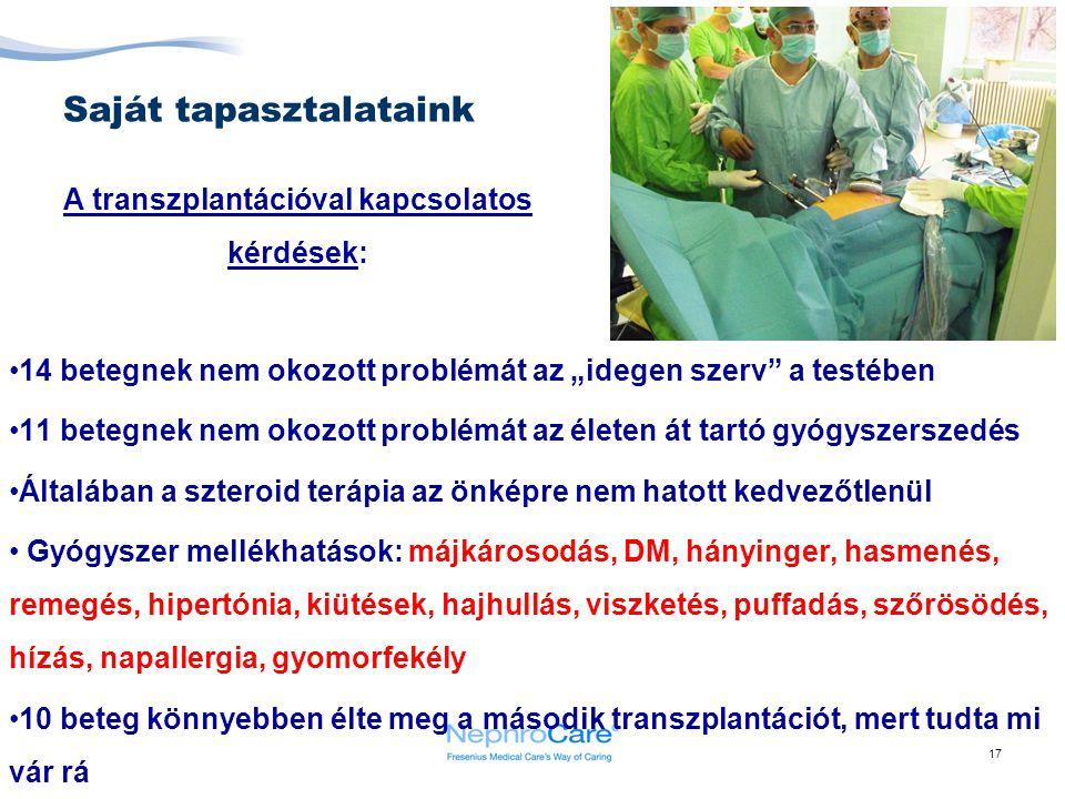 """17 Saját tapasztalataink 14 betegnek nem okozott problémát az """"idegen szerv"""" a testében 11 betegnek nem okozott problémát az életen át tartó gyógyszer"""