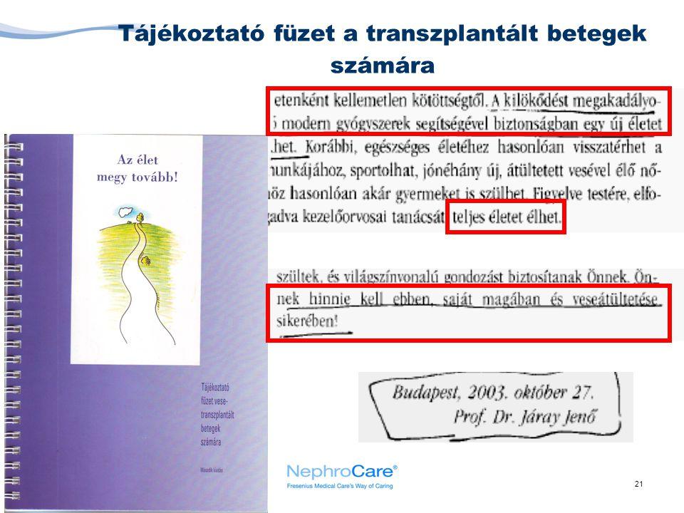 21 Tájékoztató füzet a transzplantált betegek számára