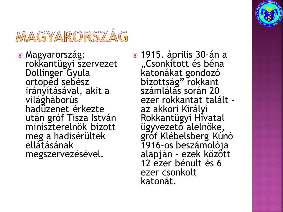  Magyarország: rokkantügyi szervezet Dollinger Gyula ortopéd sebész irányításával, akit a világháborús hadüzenet érkezte után gróf Tisza István minis