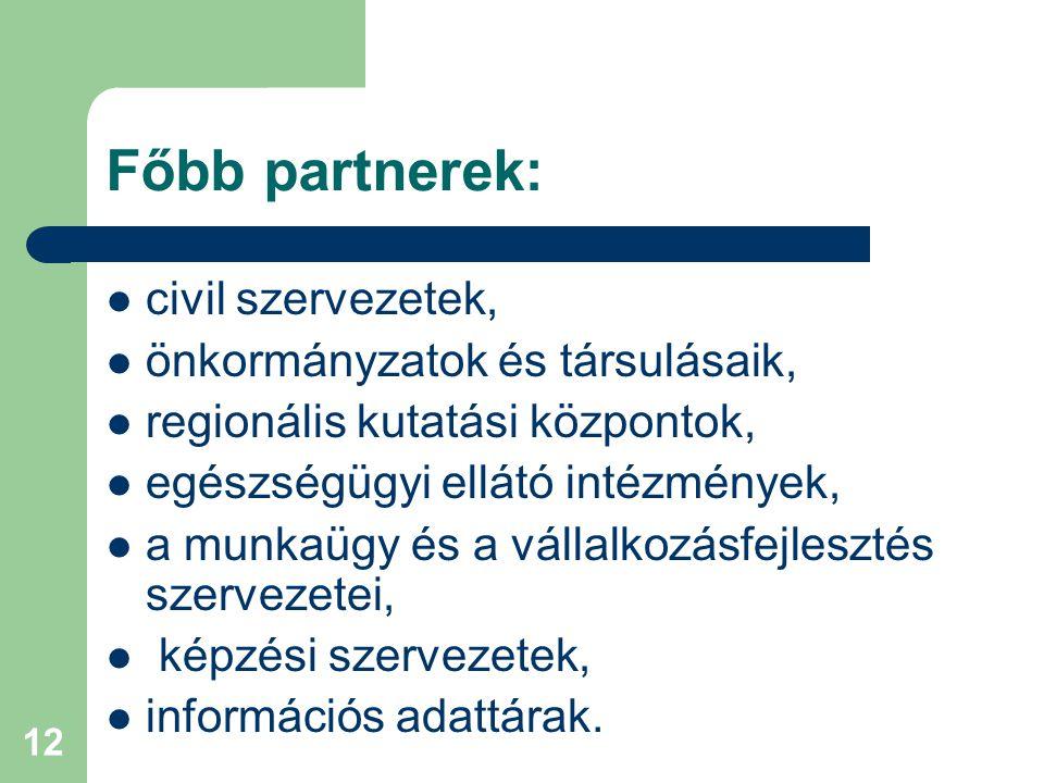 12 Főbb partnerek: civil szervezetek, önkormányzatok és társulásaik, regionális kutatási központok, egészségügyi ellátó intézmények, a munkaügy és a vállalkozásfejlesztés szervezetei, képzési szervezetek, információs adattárak.