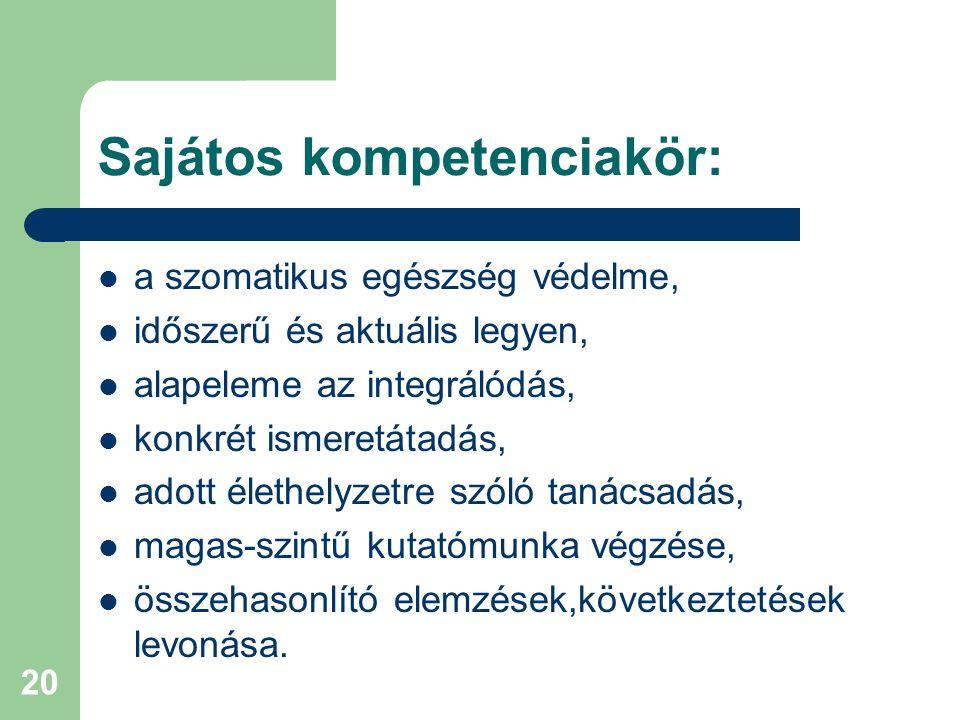 20 Sajátos kompetenciakör: a szomatikus egészség védelme, időszerű és aktuális legyen, alapeleme az integrálódás, konkrét ismeretátadás, adott élethelyzetre szóló tanácsadás, magas-szintű kutatómunka végzése, összehasonlító elemzések,következtetések levonása.