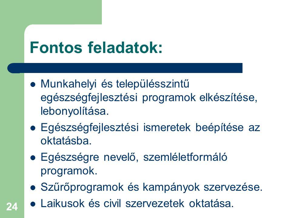 24 Fontos feladatok: Munkahelyi és településszintű egészségfejlesztési programok elkészítése, lebonyolítása.