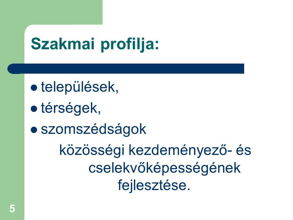 5 Szakmai profilja: települések, térségek, szomszédságok közösségi kezdeményező- és cselekvőképességének fejlesztése.