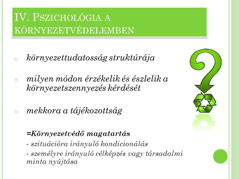 Környezetre irányuló viselkedés = környezeti attitűd  Meghatározza viszonyunkat a környezeti kérdésekhez IV.