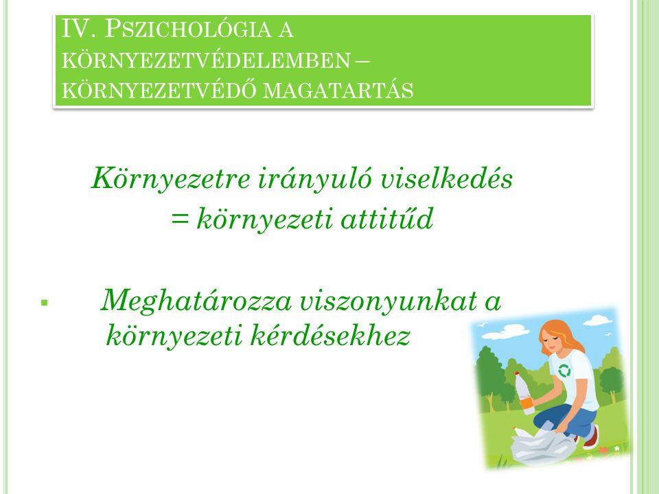 Környezetvédő magatartás egyéni jellemzői: - a környezetvédő attitűd pozitívan korrelál több demográfiai változóval ( pl.