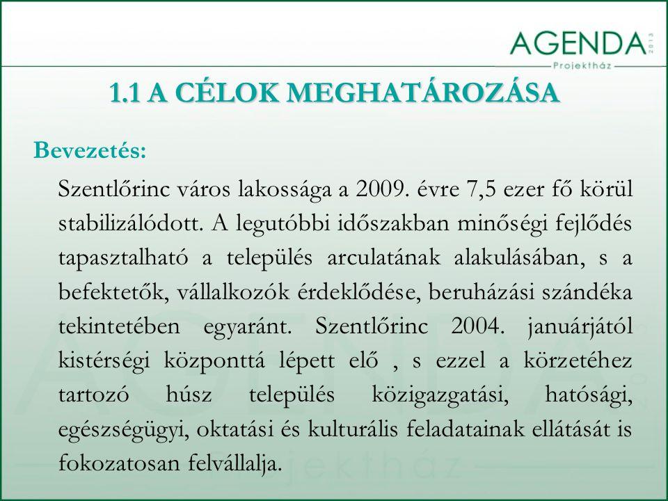 1.1 A CÉLOK MEGHATÁROZÁSA Bevezetés: Szentlőrinc város lakossága a 2009. évre 7,5 ezer fő körül stabilizálódott. A legutóbbi időszakban minőségi fejlő