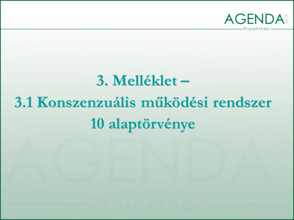 3. Melléklet – 3.1 Konszenzuális működési rendszer 10 alaptörvénye