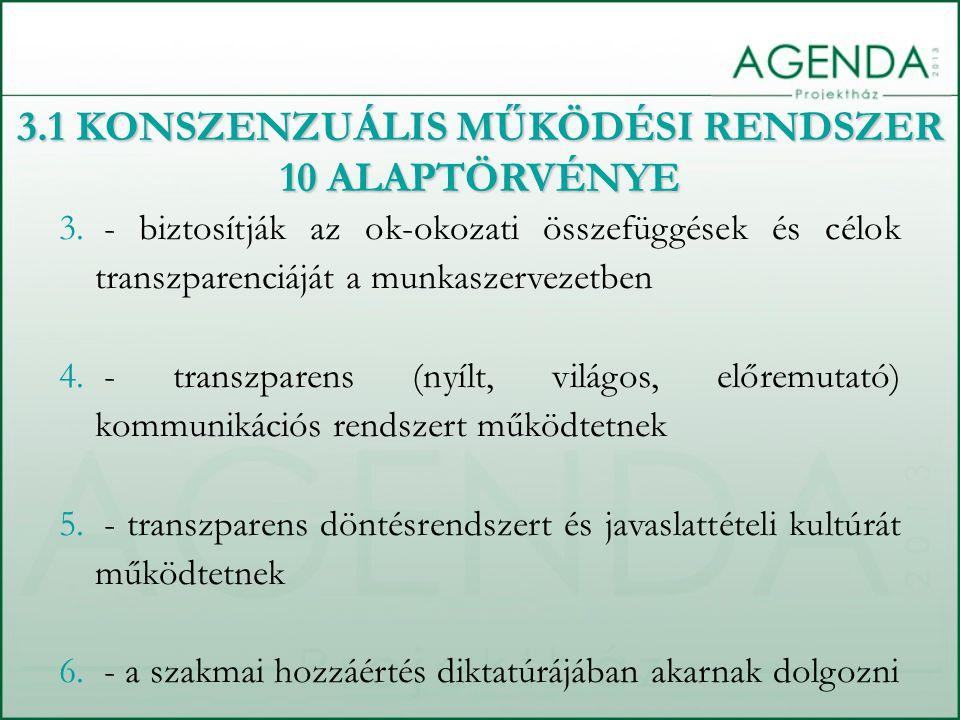 3.1 KONSZENZUÁLIS MŰKÖDÉSI RENDSZER 10 ALAPTÖRVÉNYE 3. - biztosítják az ok-okozati összefüggések és célok transzparenciáját a munkaszervezetben 4. - t