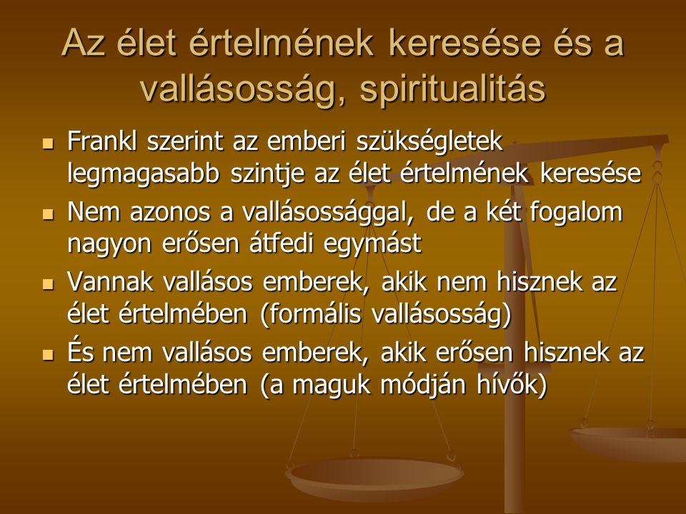 Az élet értelmének keresése és a vallásosság, spiritualitás Frankl szerint az emberi szükségletek legmagasabb szintje az élet értelmének keresése Frankl szerint az emberi szükségletek legmagasabb szintje az élet értelmének keresése Nem azonos a vallásossággal, de a két fogalom nagyon erősen átfedi egymást Nem azonos a vallásossággal, de a két fogalom nagyon erősen átfedi egymást Vannak vallásos emberek, akik nem hisznek az élet értelmében (formális vallásosság) Vannak vallásos emberek, akik nem hisznek az élet értelmében (formális vallásosság) És nem vallásos emberek, akik erősen hisznek az élet értelmében (a maguk módján hívők) És nem vallásos emberek, akik erősen hisznek az élet értelmében (a maguk módján hívők)