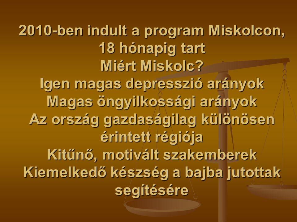 2010-ben indult a program Miskolcon, 18 hónapig tart Miért Miskolc? Igen magas depresszió arányok Magas öngyilkossági arányok Az ország gazdaságilag k