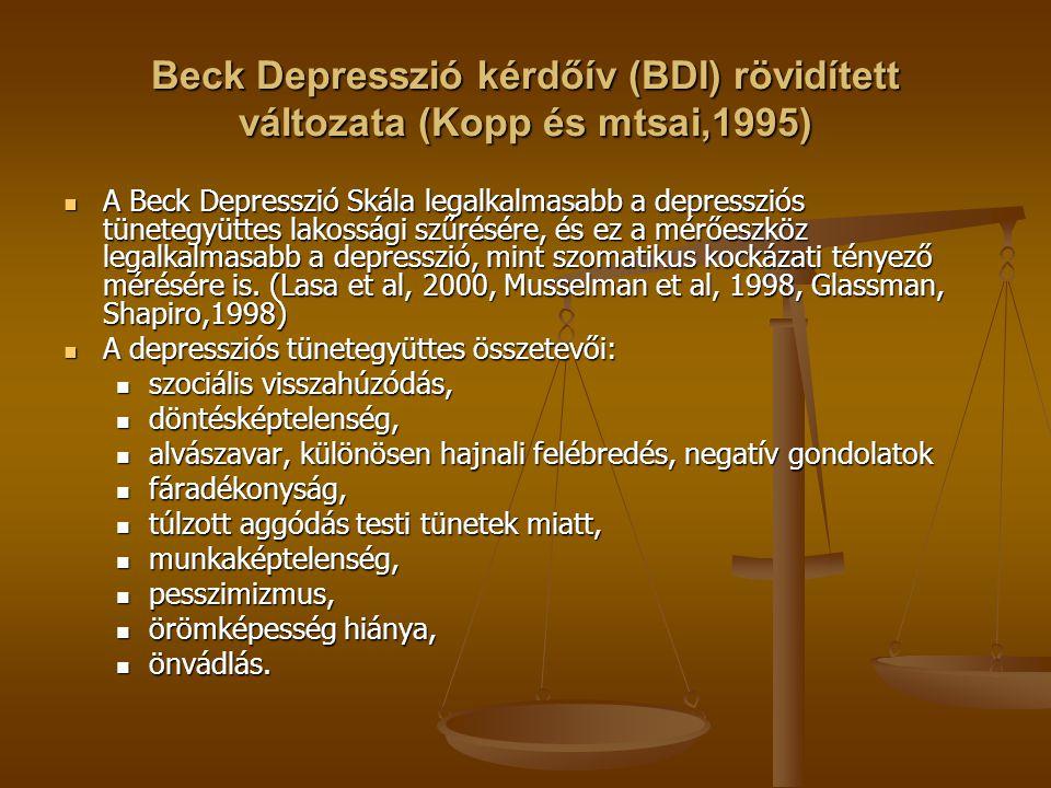 Beck Depresszió kérdőív (BDI) rövidített változata (Kopp és mtsai,1995) A Beck Depresszió Skála legalkalmasabb a depressziós tünetegyüttes lakossági szűrésére, és ez a mérőeszköz legalkalmasabb a depresszió, mint szomatikus kockázati tényező mérésére is.