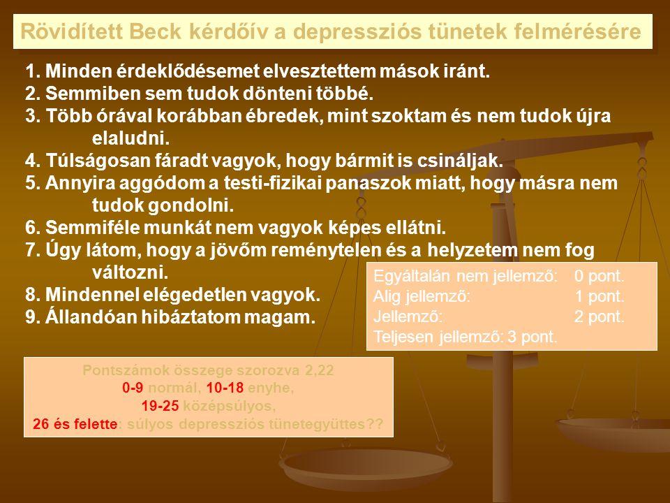 Rövidített Beck kérdőív a depressziós tünetek felmérésére 1.