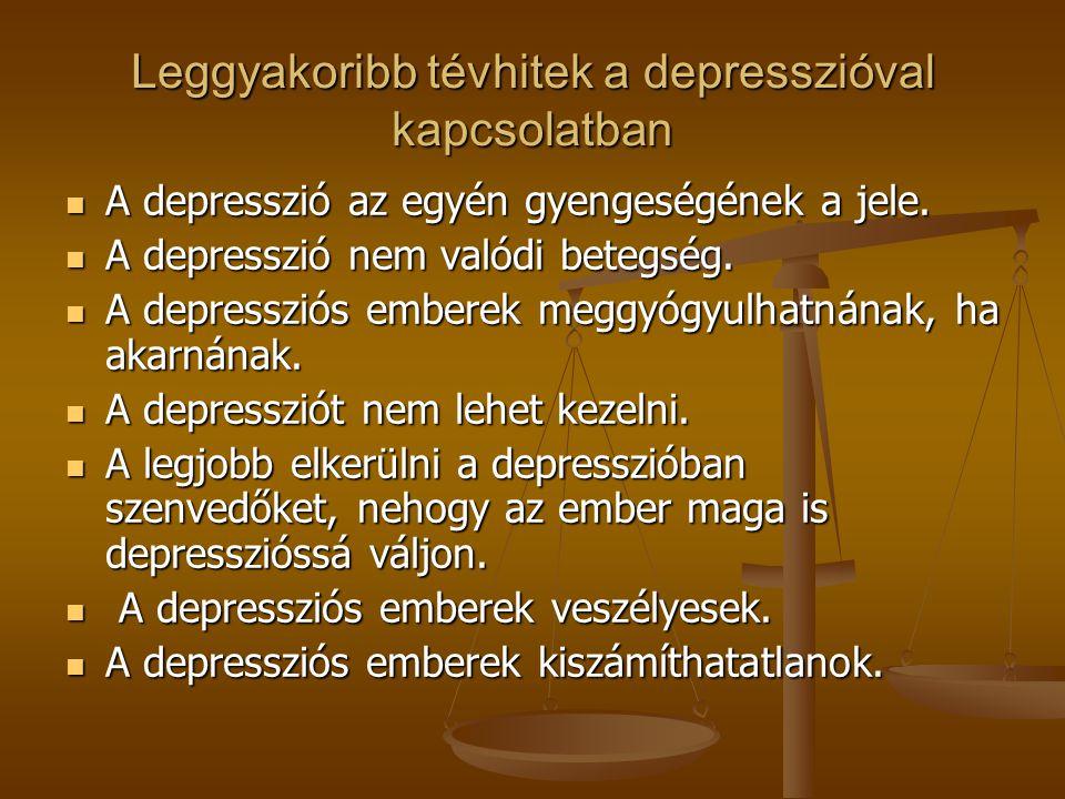 Leggyakoribb tévhitek a depresszióval kapcsolatban A depresszió az egyén gyengeségének a jele. A depresszió az egyén gyengeségének a jele. A depresszi
