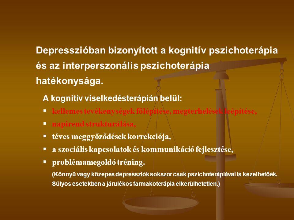 Depresszióban bizonyított a kognitív pszichoterápia és az interperszonális pszichoterápia hatékonysága. A kognitív viselkedésterápián belül:  kelleme