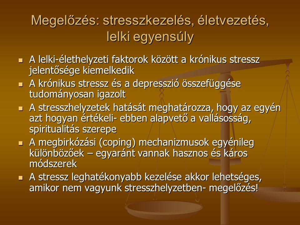 Megelőzés: stresszkezelés, életvezetés, lelki egyensúly A lelki-élethelyzeti faktorok között a krónikus stressz jelentősége kiemelkedik A lelki-élethelyzeti faktorok között a krónikus stressz jelentősége kiemelkedik A krónikus stressz és a depresszió összefüggése tudományosan igazolt A krónikus stressz és a depresszió összefüggése tudományosan igazolt A stresszhelyzetek hatását meghatározza, hogy az egyén azt hogyan értékeli- ebben alapvető a vallásosság, spiritualitás szerepe A stresszhelyzetek hatását meghatározza, hogy az egyén azt hogyan értékeli- ebben alapvető a vallásosság, spiritualitás szerepe A megbirkózási (coping) mechanizmusok egyénileg különbözőek – egyaránt vannak hasznos és káros módszerek A megbirkózási (coping) mechanizmusok egyénileg különbözőek – egyaránt vannak hasznos és káros módszerek A stressz leghatékonyabb kezelése akkor lehetséges, amikor nem vagyunk stresszhelyzetben- megelőzés.