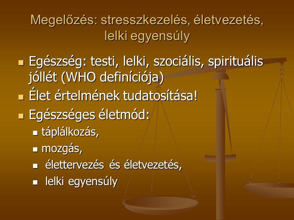 Megelőzés: stresszkezelés, életvezetés, lelki egyensúly Egészség: testi, lelki, szociális, spirituális jóllét (WHO definíciója) Egészség: testi, lelki, szociális, spirituális jóllét (WHO definíciója) Élet értelmének tudatosítása.