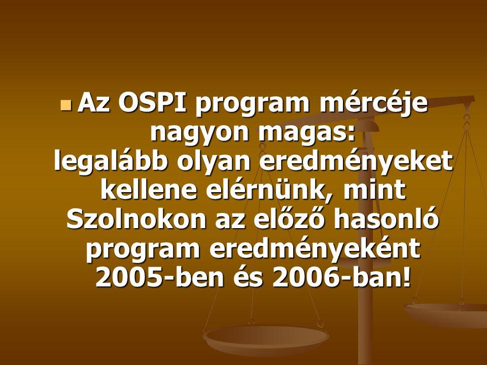 Az OSPI program mércéje nagyon magas: legalább olyan eredményeket kellene elérnünk, mint Szolnokon az előző hasonló program eredményeként 2005-ben és 2006-ban.