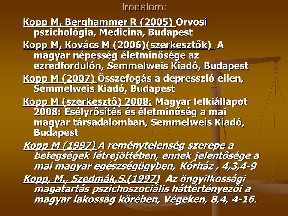 Irodalom: Kopp M, Berghammer R (2005) Orvosi pszichológia, Medicina, Budapest Kopp M, Kovács M (2006)(szerkesztők) A magyar népesség életminősége az ezredfordulón, Semmelweis Kiadó, Budapest Kopp M (2007) Összefogás a depresszió ellen, Semmelweis Kiadó, Budapest Kopp M (szerkesztő) 2008: Magyar lelkiállapot 2008: Esélyrősítés és életminőség a mai magyar társadalomban, Semmelweis Kiadó, Budapest Kopp M (1997) A reménytelenség szerepe a betegségek létrejöttében, ennek jelentôsége a mai magyar egészségügyben, Kórház, 4,3,4-9 Kopp, M., Szedmák,S.(1997) Az öngyilkossági magatartás pszichoszociális háttértényezôi a magyar lakosság körében, Végeken, 8,4, 4-16.