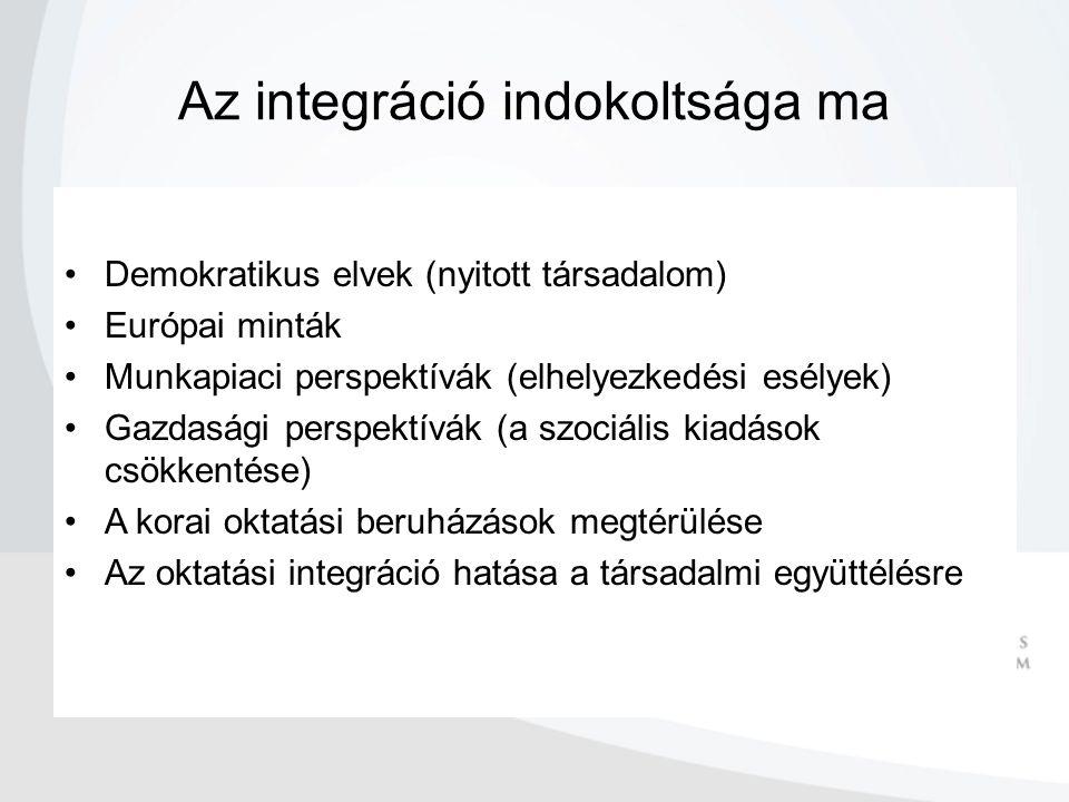 Az integráció indokoltsága ma Demokratikus elvek (nyitott társadalom) Európai minták Munkapiaci perspektívák (elhelyezkedési esélyek) Gazdasági perspektívák (a szociális kiadások csökkentése) A korai oktatási beruházások megtérülése Az oktatási integráció hatása a társadalmi együttélésre