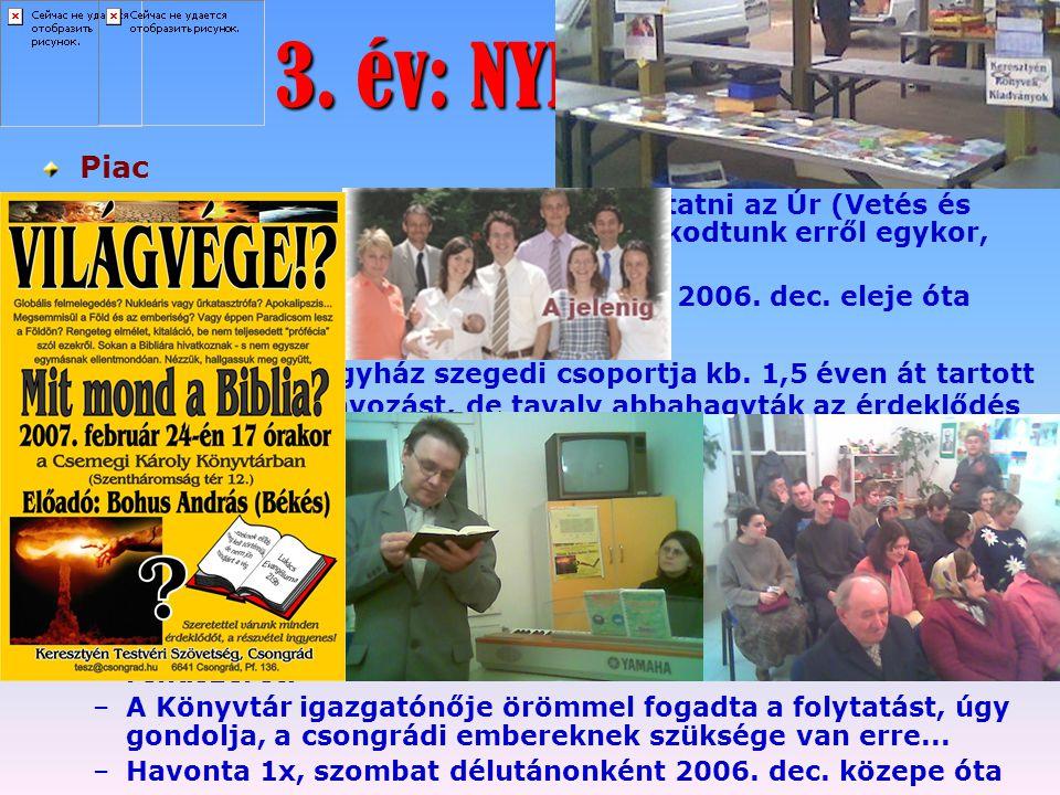 3. év: NYISSATOK KIFELÉ! Piac – –még az előző év vég felé kezdett biztatni az Úr (Vetés és Aratás c. újság, Szentesen is gondolkodtunk erről egykor, P