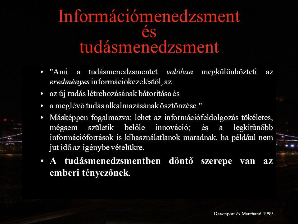 Információmenedzsment és tudásmenedzsment Ami a tudásmenedzsmentet valóban megkülönbözteti az eredményes információkezeléstől, az az új tudás létrehozásának bátorítása és a meglévő tudás alkalmazásának ösztönzése. Másképpen fogalmazva: lehet az információfeldolgozás tökéletes, mégsem születik belőle innováció; és a legkitűnőbb információforrások is kihasználatlanok maradnak, ha például nem jut idő az igénybe vételükre.