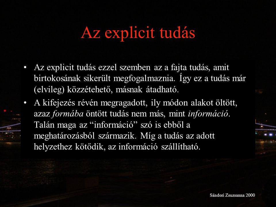 Az explicit tudás Az explicit tudás ezzel szemben az a fajta tudás, amit birtokosának sikerült megfogalmaznia. Így ez a tudás már (elvileg) közzétehet