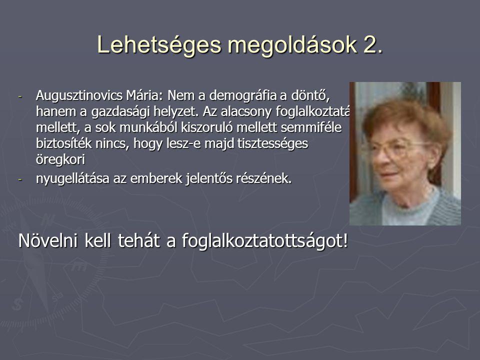 Lehetséges megoldások 2. - Augusztinovics Mária: Nem a demográfia a döntő, hanem a gazdasági helyzet. Az alacsony foglalkoztatás mellett, a sok munkáb