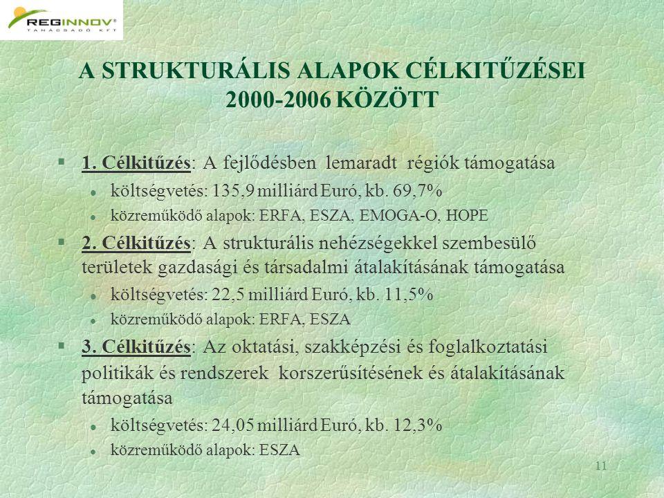 11 A STRUKTURÁLIS ALAPOK CÉLKITŰZÉSEI 2000-2006 KÖZÖTT §1.