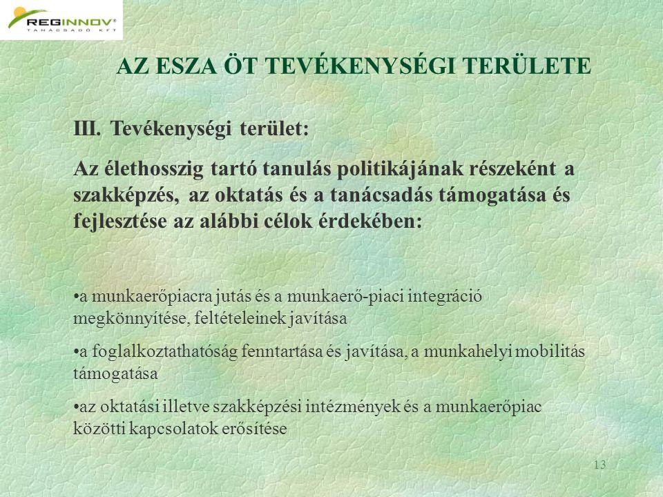 13 AZ ESZA ÖT TEVÉKENYSÉGI TERÜLETE III.