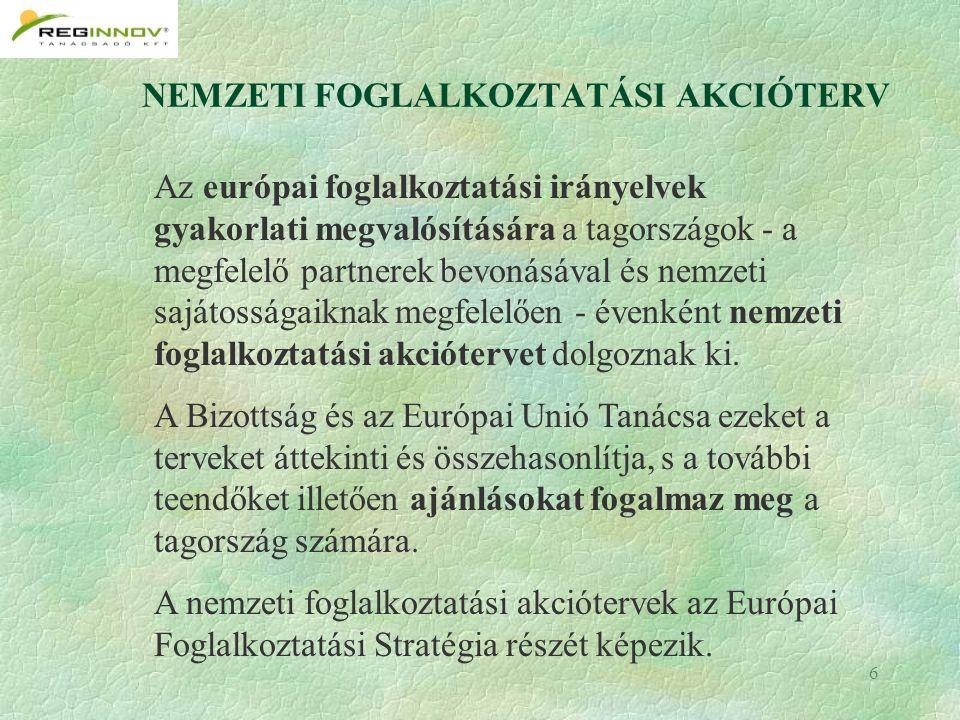 6 NEMZETI FOGLALKOZTATÁSI AKCIÓTERV Az európai foglalkoztatási irányelvek gyakorlati megvalósítására a tagországok - a megfelelő partnerek bevonásával és nemzeti sajátosságaiknak megfelelően - évenként nemzeti foglalkoztatási akciótervet dolgoznak ki.
