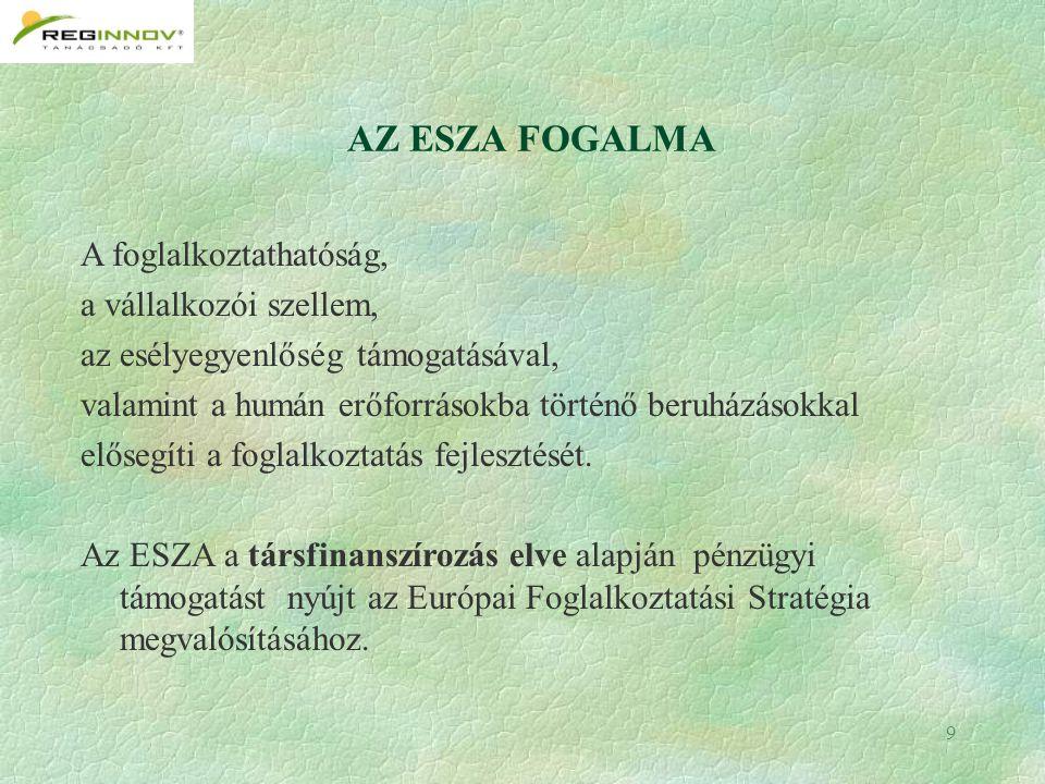 9 AZ ESZA FOGALMA A foglalkoztathatóság, a vállalkozói szellem, az esélyegyenlőség támogatásával, valamint a humán erőforrásokba történő beruházásokkal elősegíti a foglalkoztatás fejlesztését.