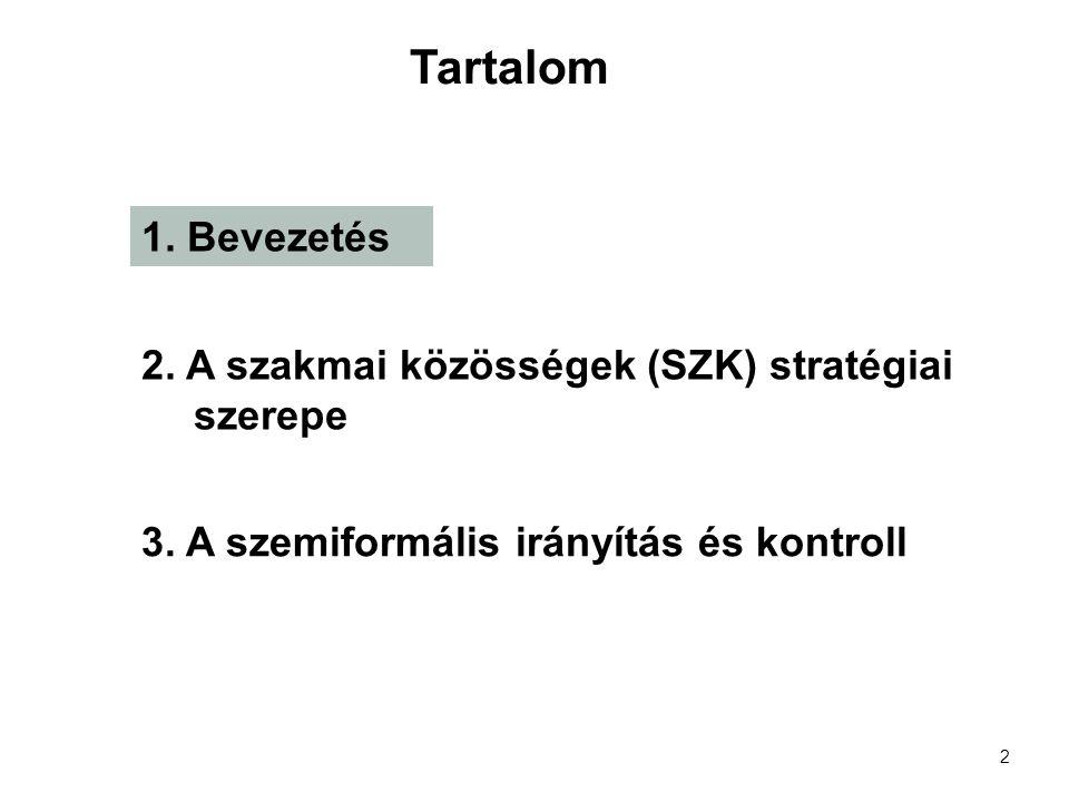 2 1. Bevezetés 2. A szakmai közösségek (SZK) stratégiai szerepe 3.