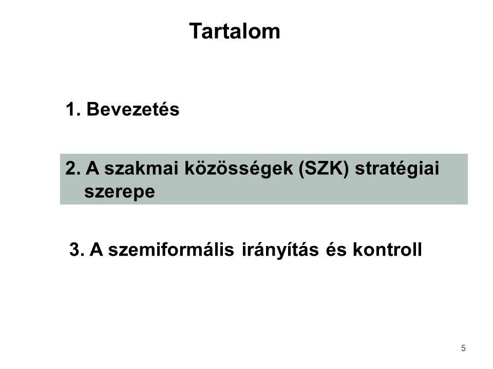 5 1. Bevezetés 2. A szakmai közösségek (SZK) stratégiai szerepe 3.