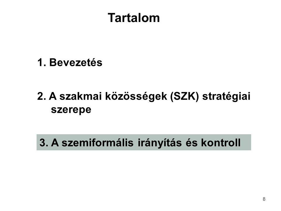 8 1. Bevezetés 2. A szakmai közösségek (SZK) stratégiai szerepe 3.