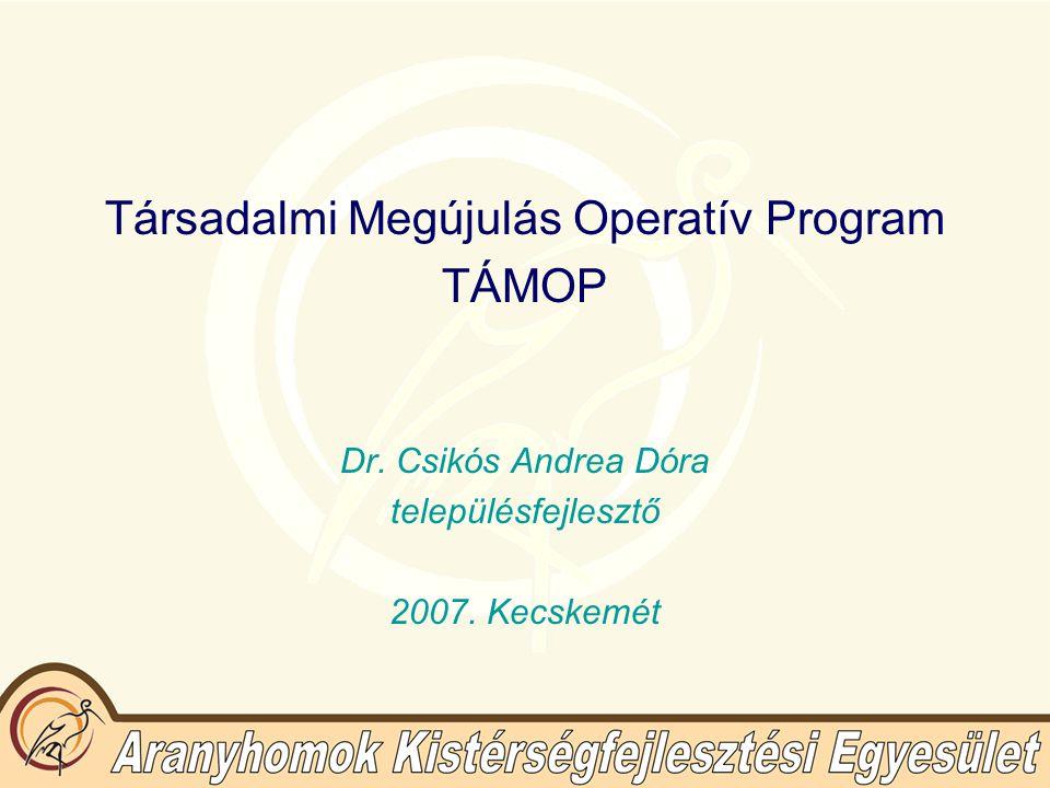 Társadalmi Megújulás Operatív Program TÁMOP Dr.Csikós Andrea Dóra településfejlesztő 2007.
