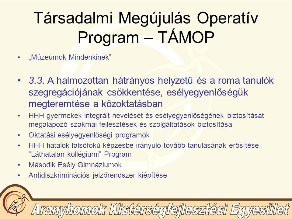 """Társadalmi Megújulás Operatív Program – TÁMOP """"Múzeumok Mindenkinek 3.3."""