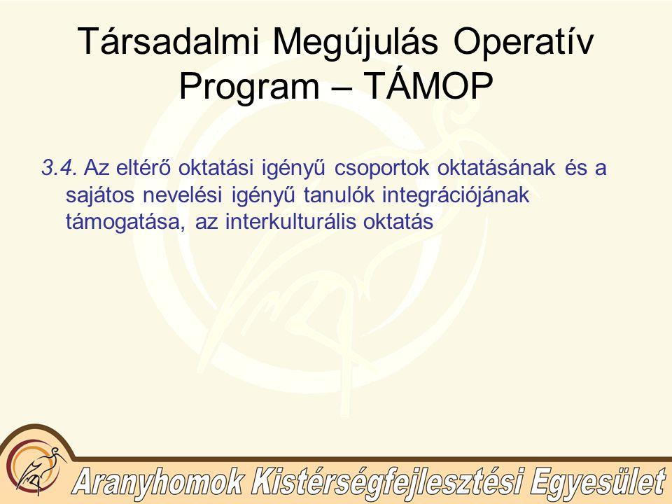 Társadalmi Megújulás Operatív Program – TÁMOP 3.4.
