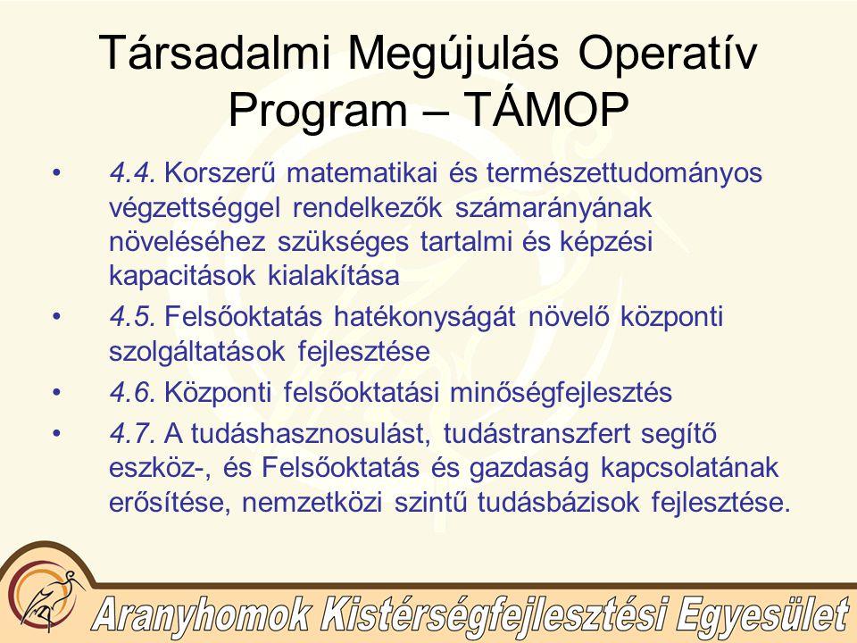 Társadalmi Megújulás Operatív Program – TÁMOP 4.4.