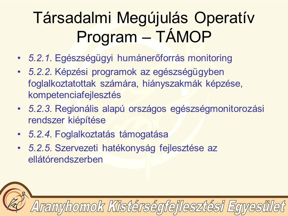 Társadalmi Megújulás Operatív Program – TÁMOP 5.2.1.