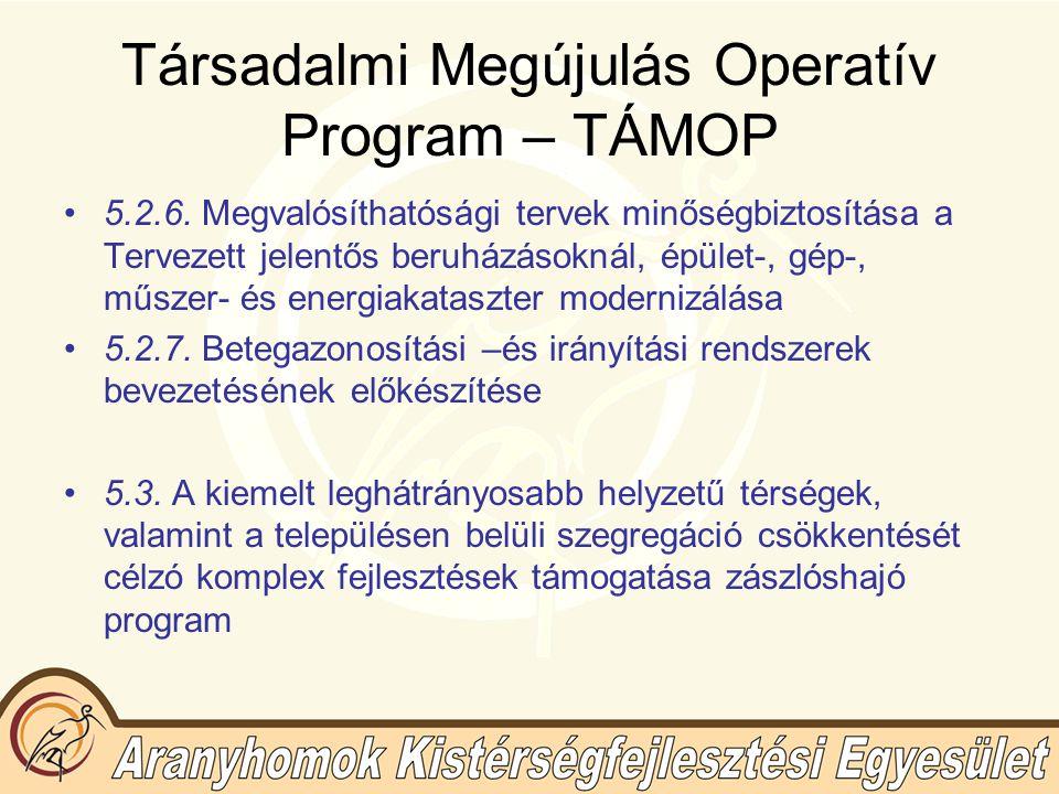 Társadalmi Megújulás Operatív Program – TÁMOP 5.2.6.