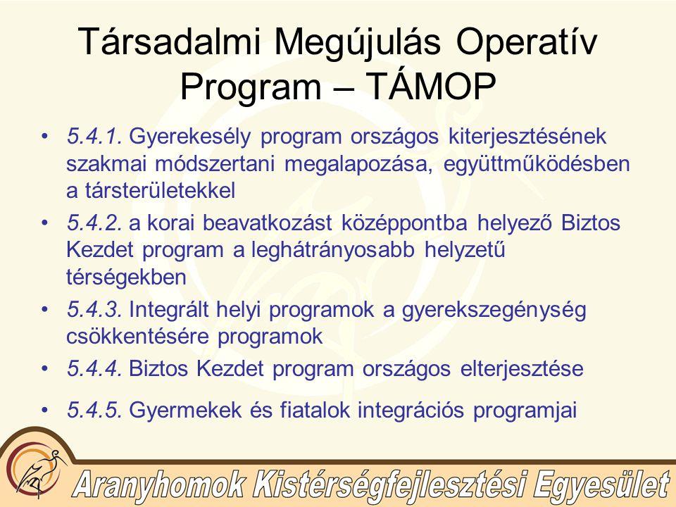 Társadalmi Megújulás Operatív Program – TÁMOP 5.4.1.